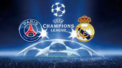 Indosport - Logo PSG vs Real Madrid.