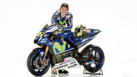Valentino Rossi saat memamerkan motor barunya beberapa waktu lalu. - INDOSPORT