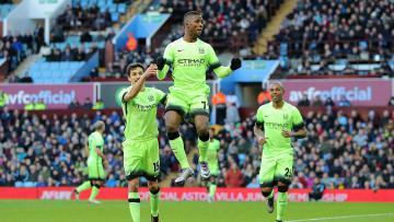 Selebrasi Kelechi Iheanacho setelah mencetak gol ke gawang Aston Villa (30/01/16)