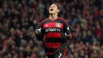 Selebrasi Chicharito dalam seragam Bayer Leverkusen.