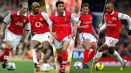 (Dari kiri ke kanan) Dennis Bergkamp, Patrick Vieira, Martin Keown, Tony Adams dan Thierry Henry - INDOSPORT