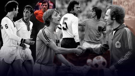 Johan Cruyff mendapat perlawanan sengit dari Franz Beckenbauer dalam pertandingan final Piala Dunia 1974 antara Jerman Barat vs Belanda. - INDOSPORT