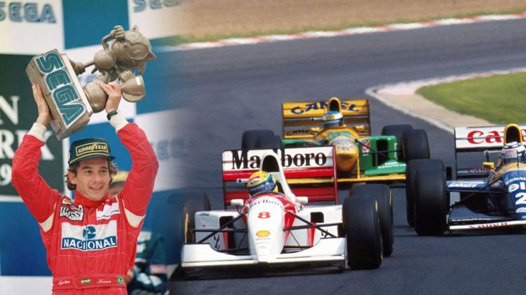 Ayrton Senna memagang tropi Sega dan selema balapan berjalan. Copyright: INTERNET