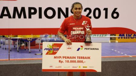 Pemain terbaik putri Proliga 2016, Apriliani Manganang. - INDOSPORT