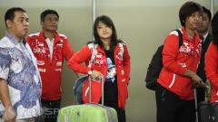 Indosport - Tunggal putri, Hanna Ramadini (tengah) tampak kelelahan.