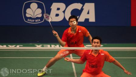 Aksi Hendra Setiawan/Mohammad Ahsan di ajang Indonesia Open 2016.
