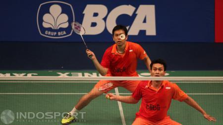 Aksi Hendra Setiawan/ Mohammad Ahsan di ajang Indonesia Open 2016. - INDOSPORT