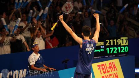 Pebulutangkis Malaysia, Lee Chong Wei, memastikan gelar juara Indonesia Open 2016 usai mengalahkan Jan O. Jorgensen.