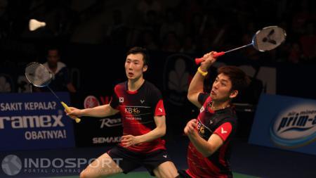 Pemain bulutangkis asal Korea Selatan, Lee Yong-dae dan Yoo Yeon-seong. - INDOSPORT