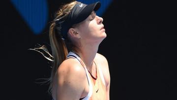 Ekspresi mantan petenis nomor satu dunia, Maria Sharapova.