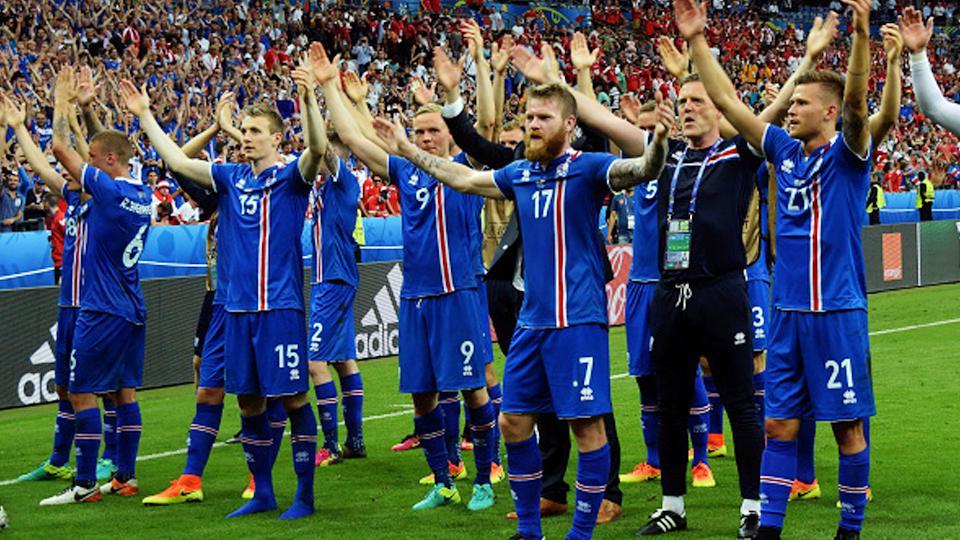 Permain Islandia selebrasi. Copyright: INTERNET