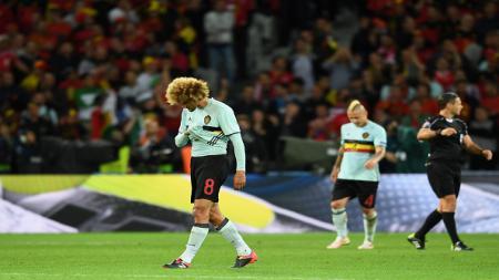 Marouane Fellaini tidak bisa bermain untuk timnas Belgia karena cedera. - INDOSPORT