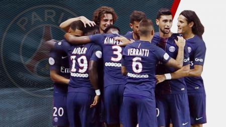 Aksi selebrasi para pemain Paris-Saint Germain usai mencukur Metz 3-0 tanpa balas. - INDOSPORT