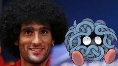 Indosport - Marouane Fellaini mirip dengan karakter Pokemon Go karena rambut kribonya.