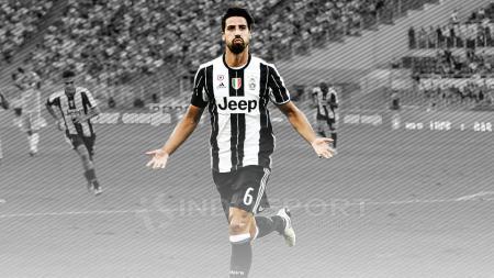Aksi gelandang Juventus, Sami Khedira melakukan selebrasi setelah mencetak gol ke gawang Lazio. - INDOSPORT