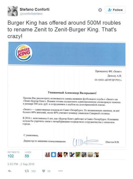 Tawarkan Uang Sponsor Burger King Minta Klub Rusia Ganti Nama