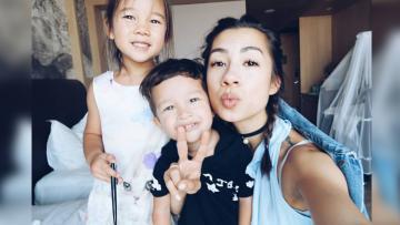 Jennifer Istri Irfan Bachdim dan kedua anaknya.