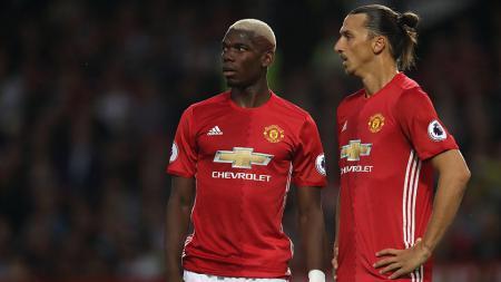 Zlatan Ibrahimovic dan Paul Pogba saat melawan Southampton di Old Trafford 19 Agustus 2016, Manchester. - INDOSPORT