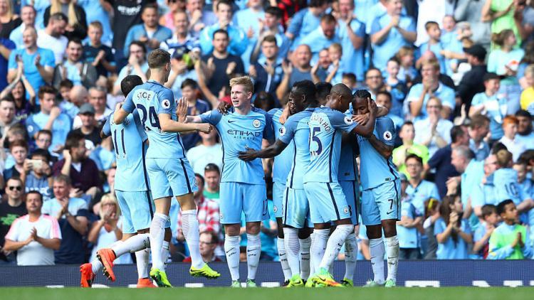 Selebrasi Manchester City saat menjamu Bournemouth di stadion etihad Copyright: Internet