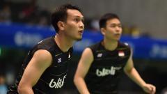 Indosport - Perwakilan pasangan Indonesia Hendra Setiawan/Mohammad Ahsan di Japan Super Series.