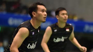 Perwakilan pasangan Indonesia Hendra Setiawan/Mohammad Ahsan di Japan Super Series.