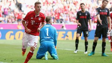 Joshua Kimmich mencetak gol saat laga Bayern Munchen melawan Koln.