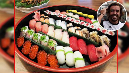 Fernando Alonso berubah menjadi koki Sushi jelang GP Jepang. - INDOSPORT