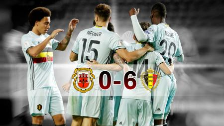Para pemain Belgia merayakan gol ke gawang Gibraltar (11/10/16). - INDOSPORT
