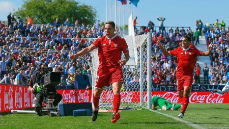 Samir Nasri rayakan golnya ke gawang Leganes pada 15 Oktober 2016. - INDOSPORT