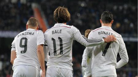 Karim Benzema, Gareth Bale, dan Cristiano Ronaldo. - INDOSPORT