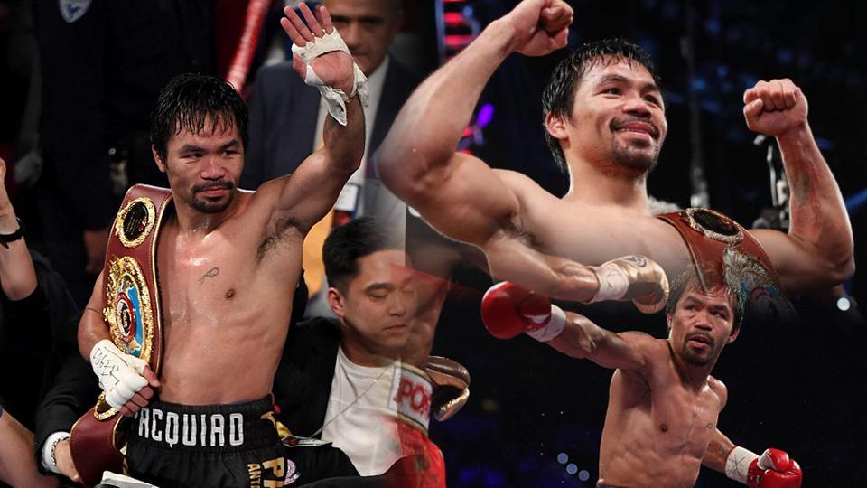Manny Pacquiao menjadi juara dunia baru pada kelas welterweight WBO, usai mengalahkan Jessie Vargas di Las Vegas. Copyright: INTERNET/INDOSPORT