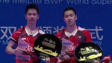 Marcus Fernaldi Gideon/Kevin Sanjaya Sukamuljo di ajang China Open Super Series Premier 2016.