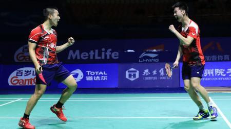Ganda Putra Indonesia, Kevin Sanjaya Sukamuljo/Marcus Fernaldi Gideon, berhasil menjuarai China Open Super Series Premier 2016. - INDOSPORT