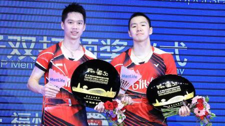 Ganda Putra Indonesia, Kevin Sanjaya Sukamuljo/Marcus Fernaldi Gideon akan berhadapan dengan Takuro Hoki/Yugo Kobayashi di babak pertama China Open 2019. - INDOSPORT