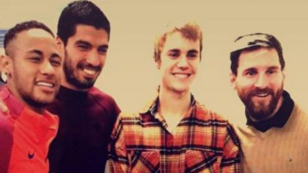 Neymar, Luis Suarez, Justin Bieber dan Lionel Messi. - INDOSPORT