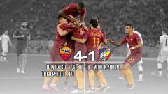 Indosport - Edin Dzeko memastikan langkah AS Roma ke babak knock out.
