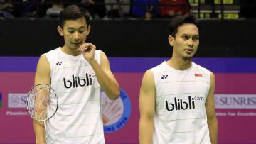 Pasangan ganda putra Indonesia, Mohammad Ahsan/Rian Agung Saputro di ajang Hongkong Open 2016.