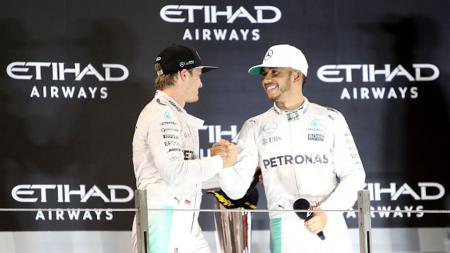 Nico Rosberg dan Lewis Hamilton. - INDOSPORT