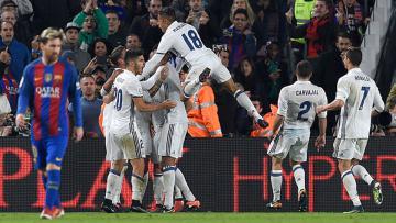 Selebrasi pemain Real Madrid setelah Sergio Ramos berhasil mencetak gol.