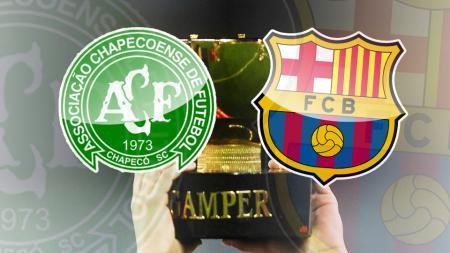 Logo Barcelona, Chapecoense, dan Trofi Joan Gamper.