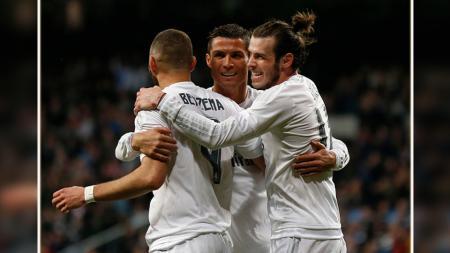 Trio penyerang Real Madrid, Karim Benzema, Gareth Bale, dan Cristiano Ronaldo (BBC). - INDOSPORT