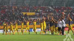 Indosport - Selebrasi para pemain Sriwijaya FC.