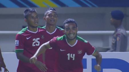 Rizky Pora berhasil membobol gawang Thailand pada menit ke-69. - INDOSPORT