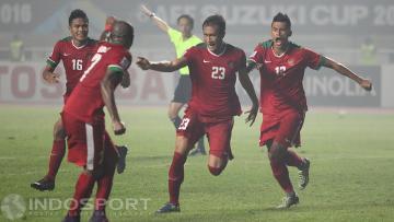 Selebrasi gol kemenangan dari Hansamu Yama Pranata saat membela Indonesia di Piala Presiden 2017.
