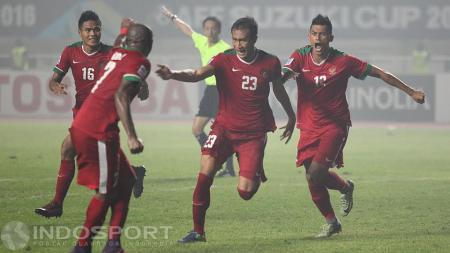 Selebrasi gol kemenangan dari Hansamu Yama Pranata. - INDOSPORT