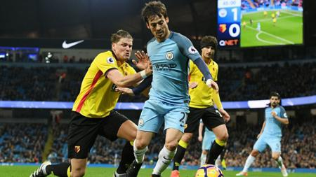 Gol David Silva di menit 86 memastikan kemenangan Man City atas Watford. - INDOSPORT