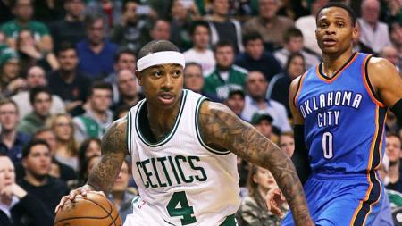 Isaiah Thomas (nomor 4) dan Russell Westbrook (nomor 0) jadi pemain terbaik NBA minggu lalu. - INDOSPORT