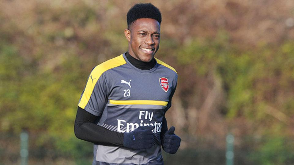 Danny Welbeck dalam sesi latihan. Copyright: Stuart MacFarlane/Arsenal FC via Getty Images