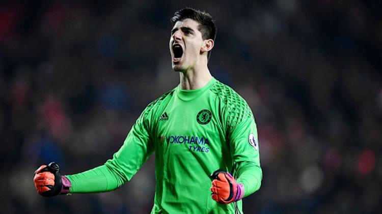 Selebrasi Thibaut Courtois Copyright: Laurence Griffiths/Getty Images