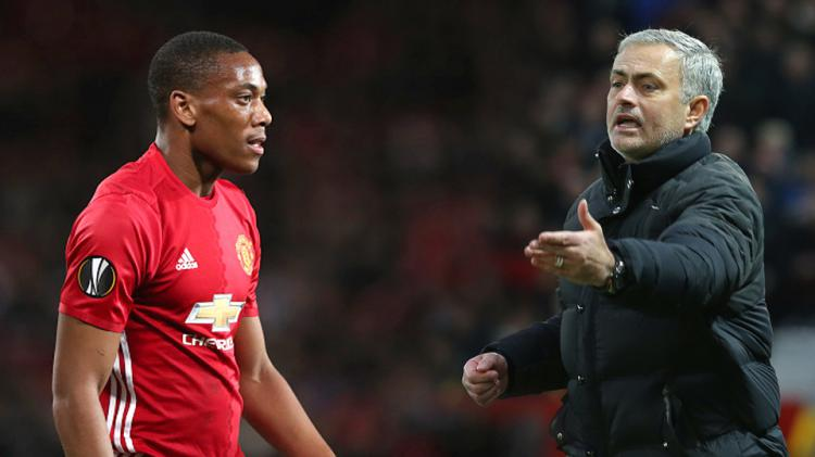 Anthony Martial dan Jose Mourinho Copyright: Indosport/GettyImages
